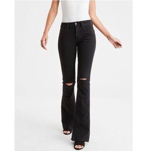 American Eagle Black Hi-Rise Slim Flare Jeans